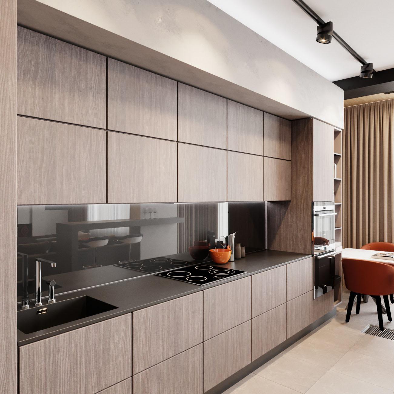 кухня с темным фартуком и столешницей