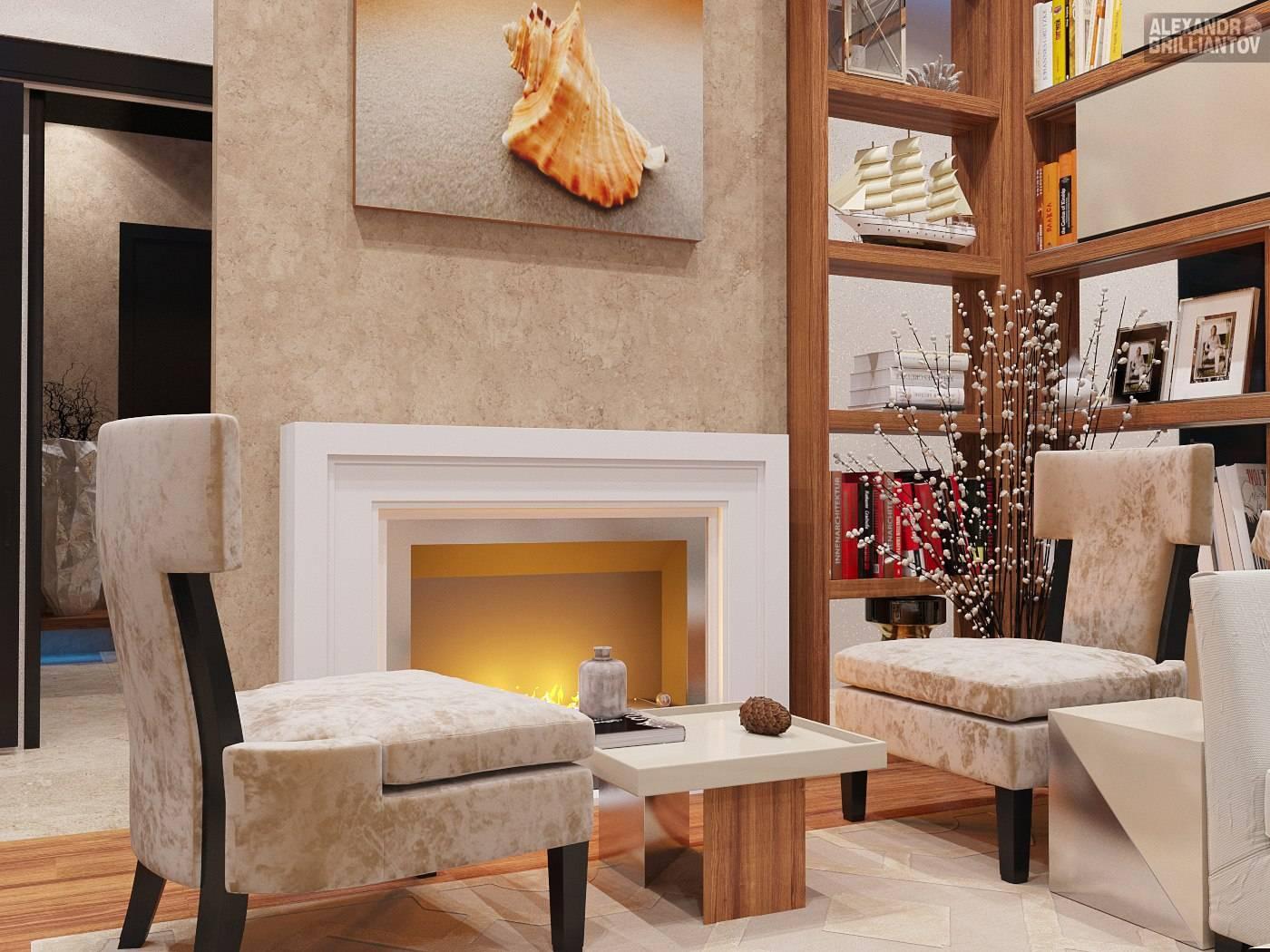 Гостиная с камином дизайн интерьера